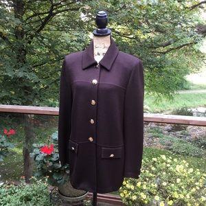 St John's Rich Dark Brown Knit Jacket Gold Buttons